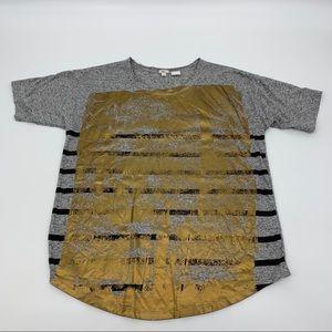 J. Crew Short Sleeve Gray, Black and Gold T-shirt